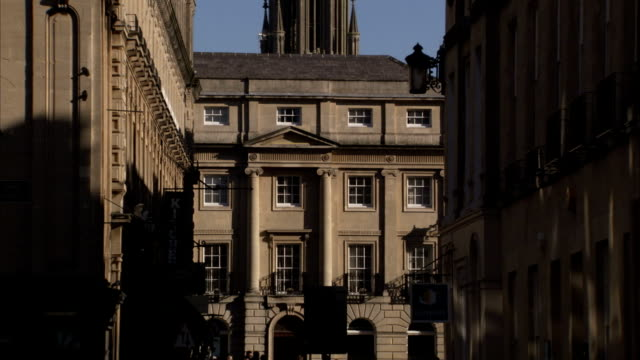 Stone buildings in Bath demonstrate neo-Grecian architecture. Available in HD.