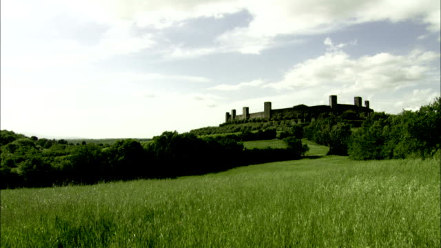 A stone fortress overlooks trees and ryegrass fields. Available in HD.