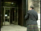 Stone of Scone site SCOTLAND Man in kilt out of car holding petition to house 'Stone of Scone' from Scone Palace PAN RL as to BV to entrance of...