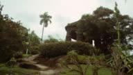 Stone steps near the stone structure in the Jardim Botanicos, Rio