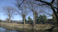 Stone walls, fences, and trees line the moat at Matsumoto Castle.