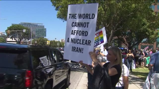 KTLA 'Stop Iran Now' Protest in Los Angeles on July 26 2015 Hundreds of protesters gathered to oppose the nuclear deal with Iran outside a federal...