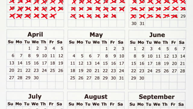 Stop motion animation of a calendar year with days crossed off.