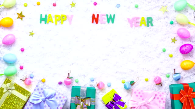 Stop motion gift box decoration on snow for new year background