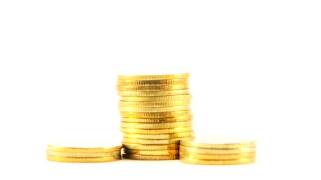 Stop motion moneta d'oro su stack.
