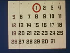 / stop motion of calendar as months flip / CU of monthly calendar and square clock