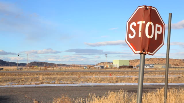 stop sign in abandoned town