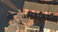Aerials of flooding in Carlisle ENGLAND Cumbria Carlisle flooded city including Brunton Park stadium [Home of Carlisle United FC] Flooded streets...