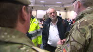 Storm Frank clean up operations underway in the UK Shows interior shots Jeremy Corbyn standing with soldiers in office on December 31 2015 in York...