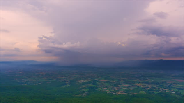 Storm front with rain,Time lapse