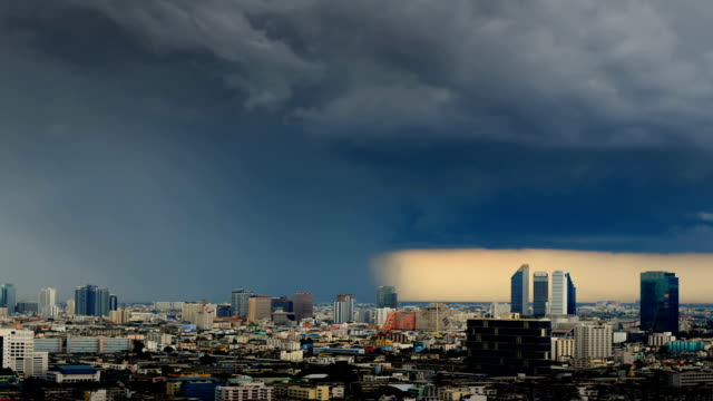Storm is coming in the city timelapse in bangkok thailand