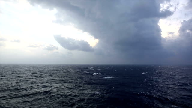 Storm rages above Mediterranean Sea, ship view