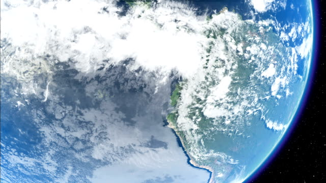 Storm systems and clouds swirl over the Earth as it rotates. Available in HD.
