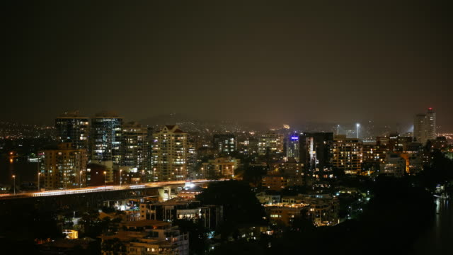 4K Storm Timelapse with traffic and rain at night, Brisbane, Australia
