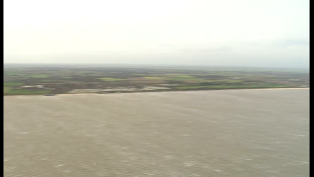 Aerials of Norfolk coast and Scroby Sands Wind Farm ENGLAND Norfolk Great Yarmouth area VIEWs / AERIALs coast shoreline showing tidal defences and...