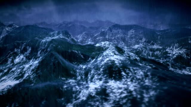 Stürmischen Ozean mit Regen und Blitz, statische Kamera ist.