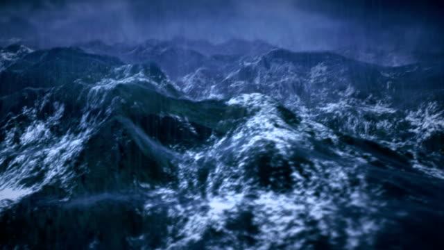 Stürmischen Ozean mit Regen und Blitz, Wackelaufnahme Kamera.