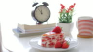 Strawberries crepe cake with strawberry cream with dolly shot movement