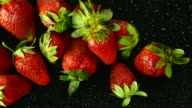 Strawberry. Close up. Top view.