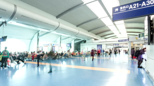 T/L WS TD Stream of People at  Departure Lounge / Chongqing, China