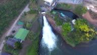 Stream of water releasing from dam
