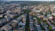 AERIAL 'P' street and Dupont Circle, Washington D.C., USA