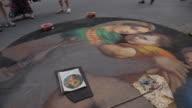 MH PAN Street Artist Painting on Sidewalk / Florence, Italy