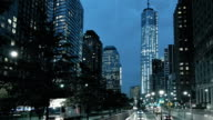 Street at Freedom tower at night, Manhattan, New York, USA
