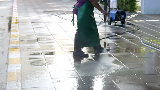 street care and cleaning services with water machine