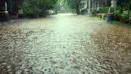 Street flood in an urban environment