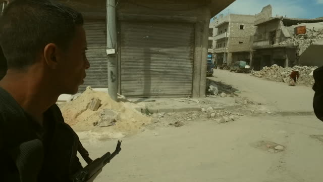 Street footage of Northern Aleppo Syria showing the distruction caused by the conflict with Islamic State