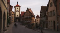 WS Street in old town, Spitalgasse in background / Rothenburg ob der Tauber, Germany