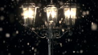 HD CRANE: Street Lamp post in the Snow