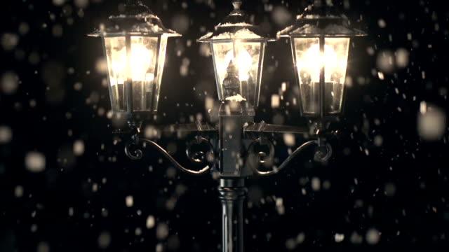HD CRANE: Street Lamp post in the Snow