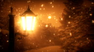 Street lantern and snow at night (loopable)