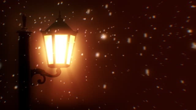 Straße Laterne und Schnee bei Nacht (Endlos wiederholbar
