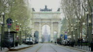 Street leading to Arco della Pace, Milan.