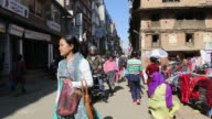 Street scene in downtown at mid day time people walking AUDIO / Kathmandu Bagmati Nepal