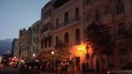 MS Street scene of Calle Del Recinto Sur at dusk, Puerto Rico, USA