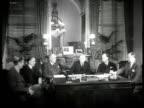 Street scene w/ Capitol Building BG INT Meeting w/ Wilson Wyatt talking w/ Congressman Sam Rayburn Speaker of the House John W McCormick Senator Mike...