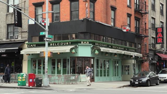 WS Street scene with cafe in background East Village / Manhattan, New York City, New York, USA