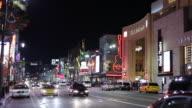 WS Street scene with Kodak Theatre at night / Hollywood, Los Angeles, California, USA