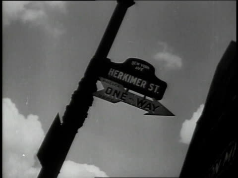 1947 MONTAGE street signs and Greenpoint cityscape / New York, New York, United States