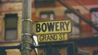 1959 CU FOCUS Street signs for Bowery and Grand St./ Manhattan, New York, USA