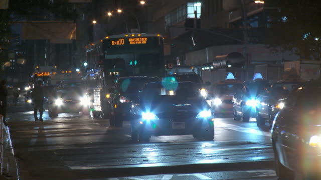 WS Street traffic at night / New York City, USA