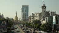WS HA Street traffic with skyline / Rangoon, Yangon, Myanmar