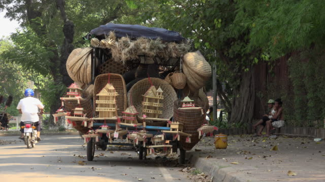 Street vendor with basketware on truck in Siem Reap town