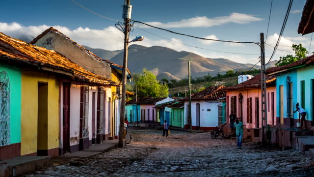 Street with colourful houses in Trinidad Cuba