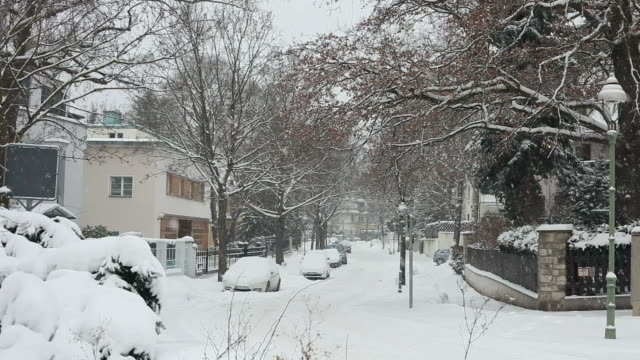 Street with houses in the winter - snow