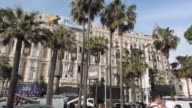 Streets are prepared for 68th Cannes Film Festival in Cannes France on May 11 2014 Festival continues for two weeks Promotional billboards on the...